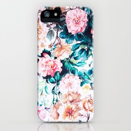 Modern blush pink green watercolor roses floral iPhone Case