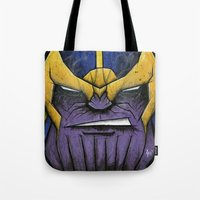 thanos Tote Bags featuring The Mad Titan by chris panila
