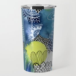 Indigo Blooms Travel Mug