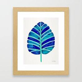 Elephant Ear Alocasia – Blue & Turquoise Palette Framed Art Print