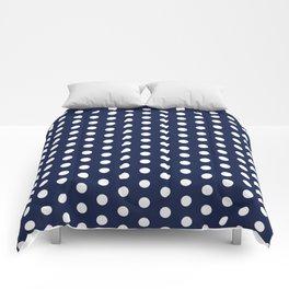 Navy Blue Polka Dots Minimal Comforters