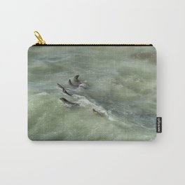 Sea Lions Cavorting in a Green Sea Carry-All Pouch