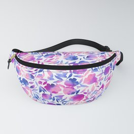 Watercolor Floral Papercut Pink Blue Purple on White Fanny Pack