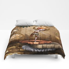 Cute little steampunk girl with clocks and gears Comforters