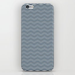 Midnight Blue and White Christmas Wavy Chevron Stripes iPhone Skin