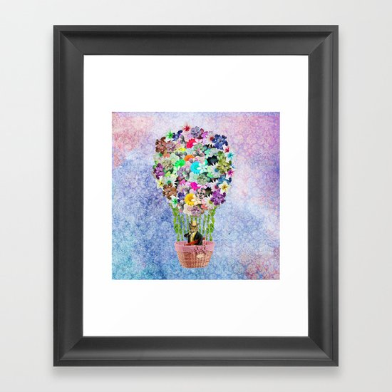 Teal Pink Vintage whimsical cat floral Air balloon Framed Art Print