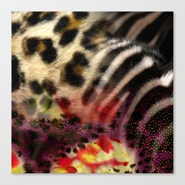 Animal Print & Floral Collage Canvas Print