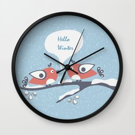"Two Birds sitting on a Branch say ""Hello Winter"" Wall Clock"