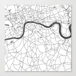 London White on Gray Street Map Canvas Print