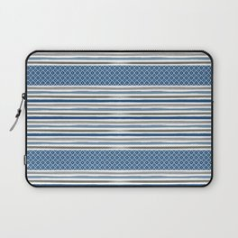 Modern Beachy Paint Brush Stripes in Blue and Putty Gray Laptop Sleeve