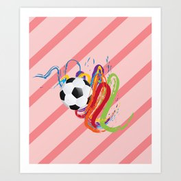 Soccer Ball with Brush Strokes Art Print