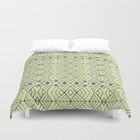 lime green Duvet Covers featuring Lime Green Aztec by Pom Graphic Design