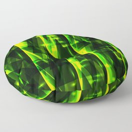 Luxurious green stripes and metallic triangles of blades of grass create abstraction and glow. Floor Pillow