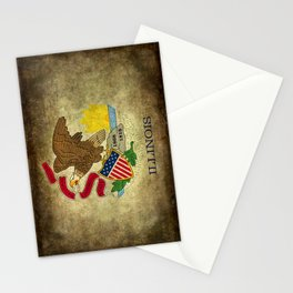 State flag of Illinois with grungy vintage textures Stationery Cards
