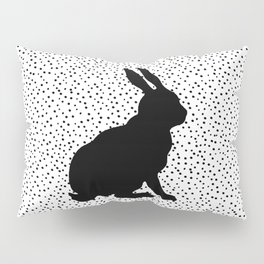 Black Silhouette Sitting Bunny Rabbit Polka Dots on White Pillow Sham