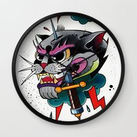 panther Wall Clocks featuring Panther by fishero