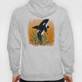 Cute Orca Whale Orange Doodle Splash Hoody
