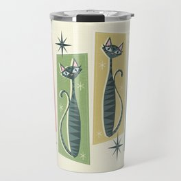 Retro Patchwork Tabbies ©studioxtine Travel Mug