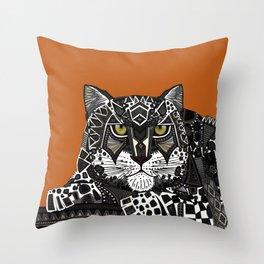 snow leopard orange Throw Pillow