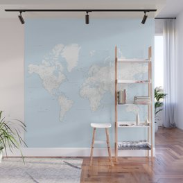 World map, highly detailed in light blue and white, square Wall Mural