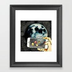 Snapchat the moon Framed Art Print