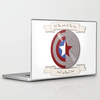 steve rogers Laptop & iPad Skins featuring Steve Rogers and Bucky Barnes Shield by Mallory Anne