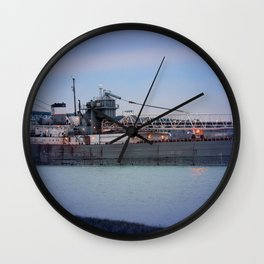 Great Lakes Freighter At Sunset - 2 Wall Clock