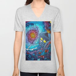 Tardis stained glass style Unisex V-Neck