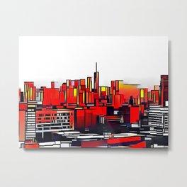 Mondrian Mosaic of Manhattan in Orange and Yellow Metal Print