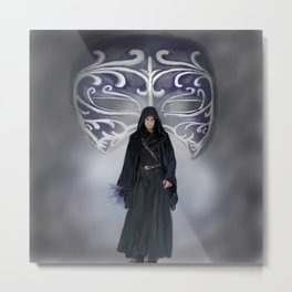 Black Mask Guardian Metal Print