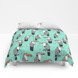 Toucan bird pattern minimal print design by andrea lauren toucans tropical birds mint Comforters