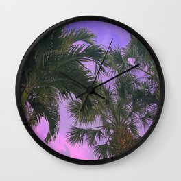 Purple Sky Palms Wall Clock