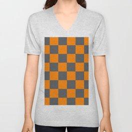 Orange and Smokey Grey Checker Pattern Unisex V-Neck