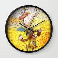 clown Wall Clocks featuring Clown by José Luis Guerrero