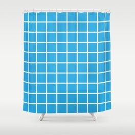 Blue Grid Pattern 2 Shower Curtain