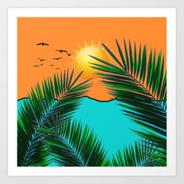 Palm in the sun Art Print