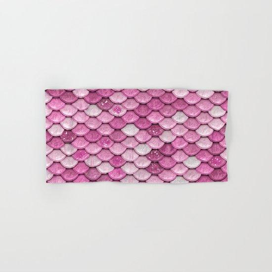 Light Pink Glitter mermaid sparkling scales Hand & Bath Towel