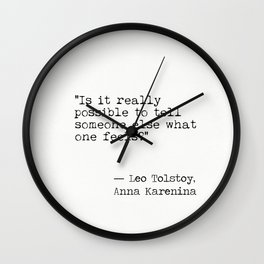 Leo Tolstoy Anna Karenina book quote Wall Clock
