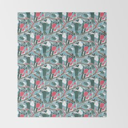 Hiding Birds Pink Throw Blanket
