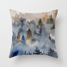 Watercolor abstract forest landscape Throw Pillow