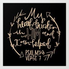 Psalm 28 Hand Lettering Art Print