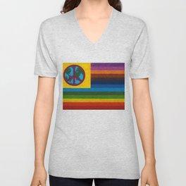 World Peace - Climate Change Flag portrait Unisex V-Neck