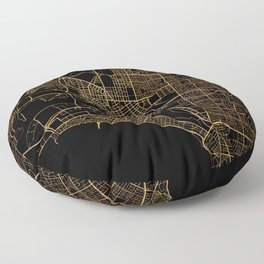 Black and gold Melbourne map Floor Pillow