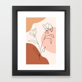 Poppies line drawing Framed Art Print
