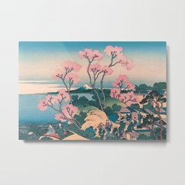 Spring Picnic under Cherry Tree Flowers, with Mount Fuji background Metal Print