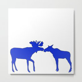 Graphic Swedish Moose Kissing Metal Print