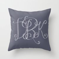 monogram Throw Pillows featuring monogram  by Le Petit Juif