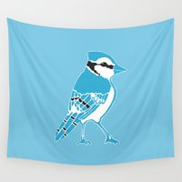 jay fleck Wall Tapestries featuring Blue Jay by Artist Abigail