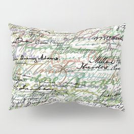 All The Presidents Signatures Green Sepia Pillow Sham