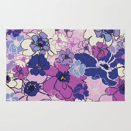 Red Violet and Navy Anemones Rug